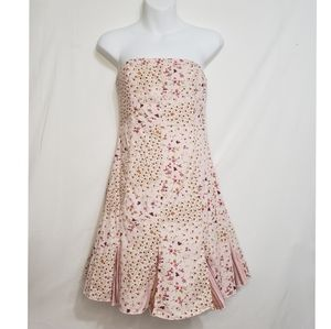 Free People Weathervane Pink Strapless Above Knee Floral Mini Sun Dress Small